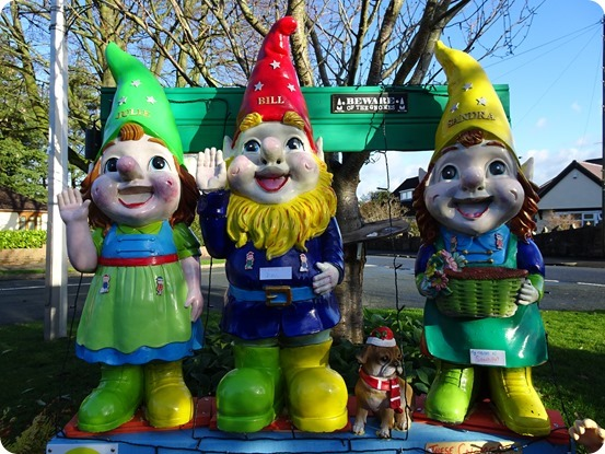 Large gnomes on display