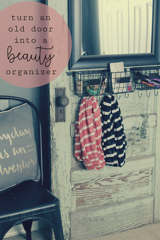 life storage turn an old door into a beauty organizer