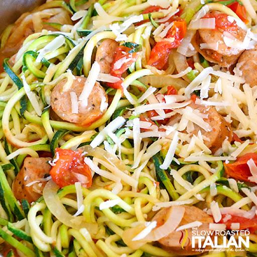 Italian Zucchini Spirals with Sausage