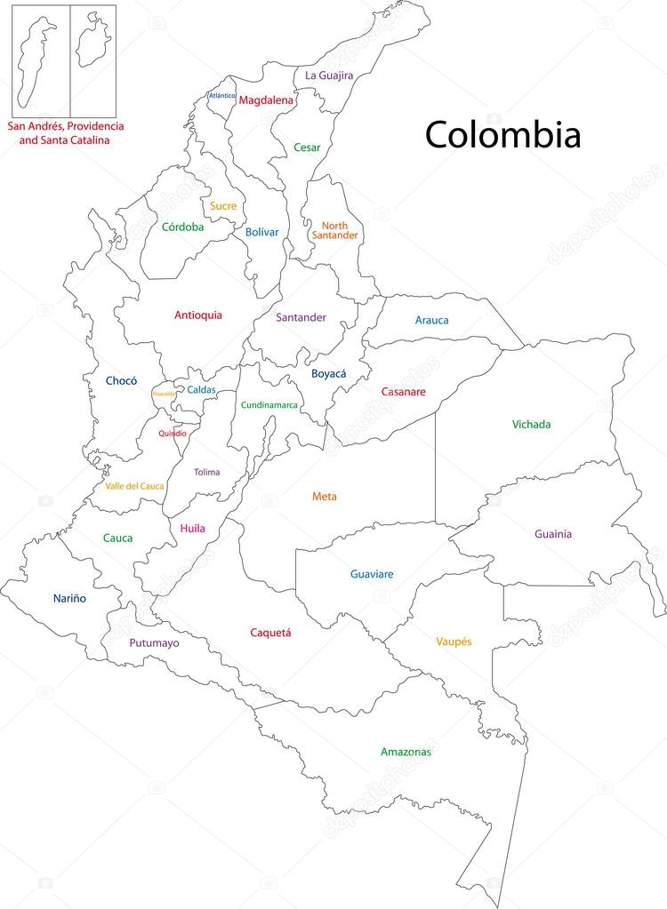 Mapa politico de Colombia con sus departamentos y Capitales para colorea
