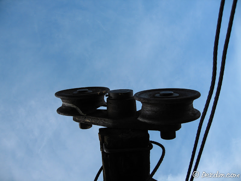 Looking up at the tram tower pulleys. A good mine, a good trip and a good time were had on this adventure!