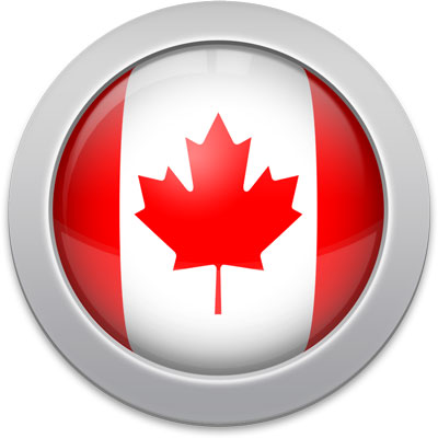 Canadian flag icon with a silver frame