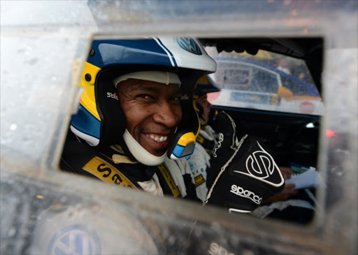 Gugu Zulu of Team Sasol at the start during day 3 of the 2013 Sasol Rally in Mpumalanga on April 20, 2013 in Mpumalanga.