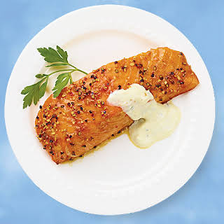 Gluten-Free Cedar-Plank Salmon with Brown Sugar and Cracked Pepper.
