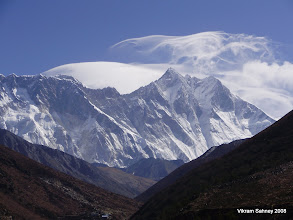 Photo: Everest (left center) and Lhotse (right) under high winds.