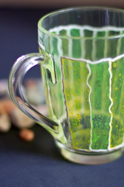 Green and Yellow Striped Glass Mug by zmeyssHandMade