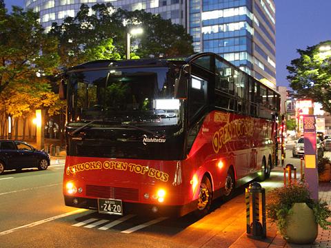 西日本鉄道「福岡オープントップバス」 赤塗装 福岡きらめき夜景コース 福岡市役所到着