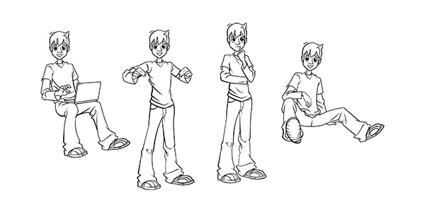 boy poses Cartoon