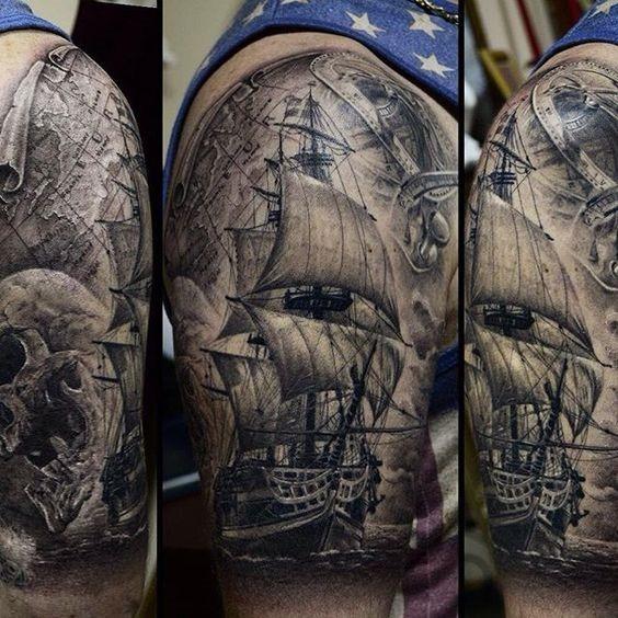 detalhada_navio_braço_de_tatuagem