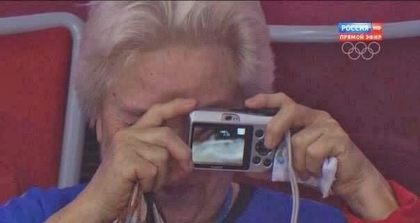 【画像】ソチオリンピックを観戦中のおばあちゃん