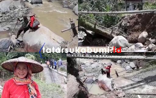 Jembatan Ambruk di Cikidang, Lansia Terpaksa Merayap Turuni Sungai