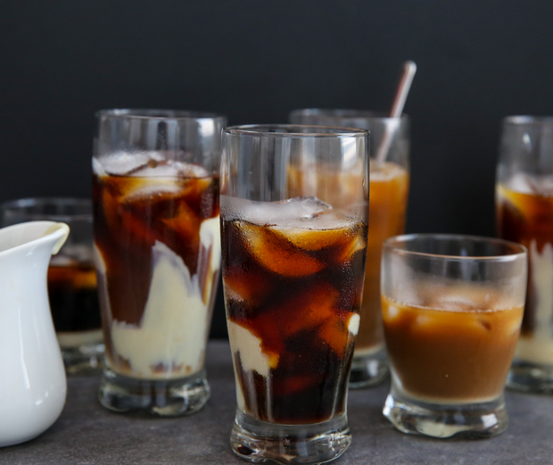 photo of Cold Brew Vietnamese Iced Coffee before the milk and coffee are stirred together
