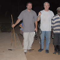 Jon, Dad (Mick Eager), and night guard Forto after killing a spitting cobra.