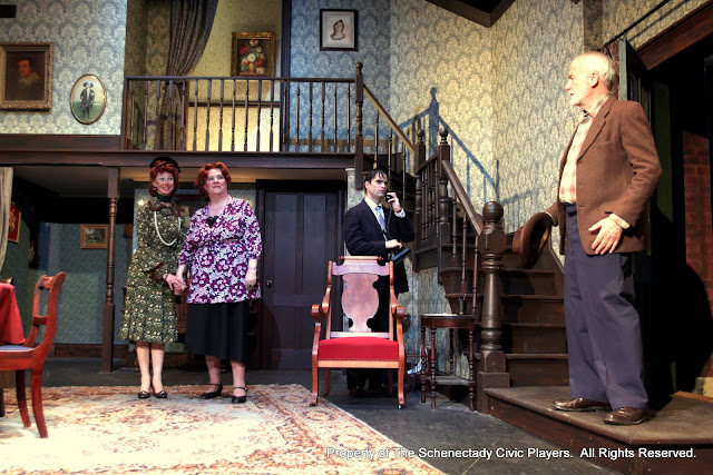 Cindy Welch, Debbie May, Matthew Surman and Phil Sheehan in ARSENIC AND OLD LACE (R) - May 2011.  Property of The Schenectady Civic Players Theater Archive.
