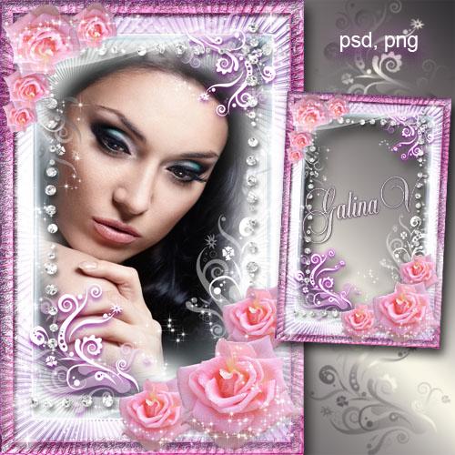 Цветочная рамка - Сияющие розовые розы