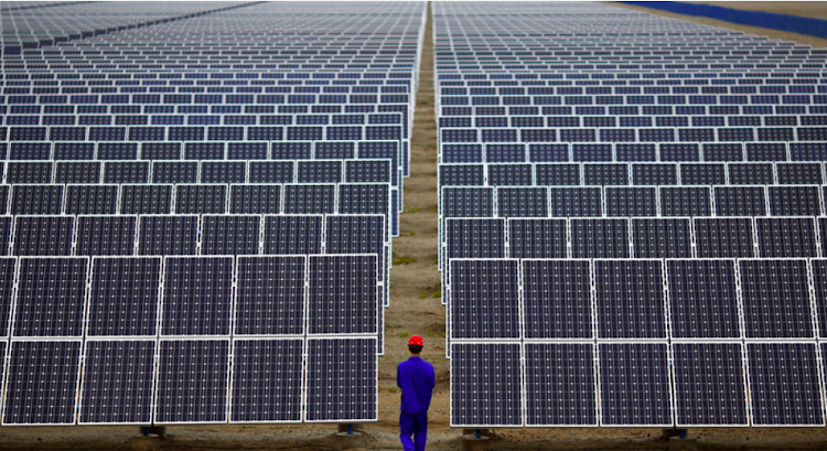 A solar power farm in China. The country has adopted a low carbon economy, thus reducing emissions.