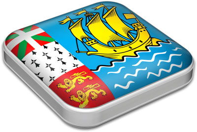Flag of Saint Pierre and Miquelon with metallic square frame