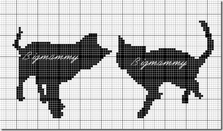 siluetas gatos punto de cruz monocromo  (5)