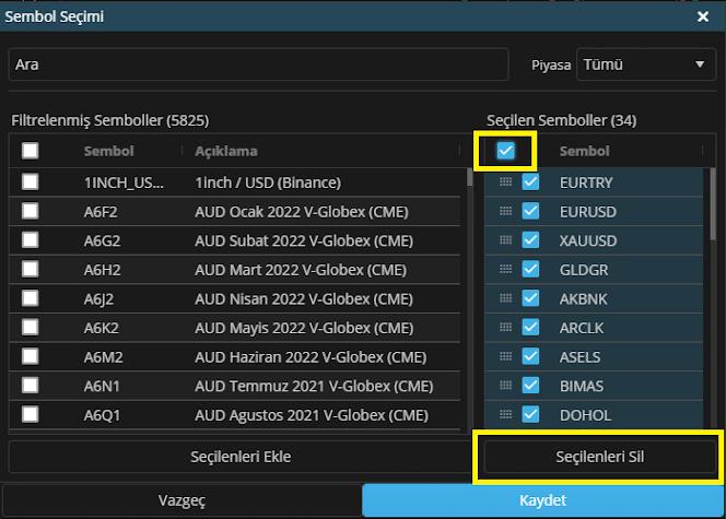 Matriks Web Trader Sembol Seçimi