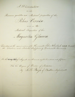 A handwritten title page for a thesis on the poisonous and medicinal properties of Magnolia Glauca and Rhus Vernix.