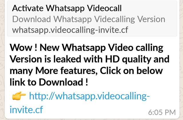 Penipuan untuk download video calling WhatsApp