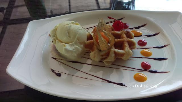 Belgium waffle with ice-cream