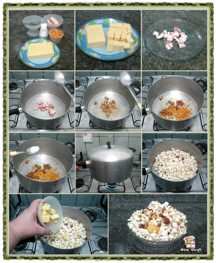 Pipoca com bacon e queijo 2