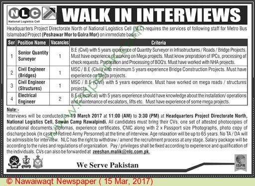 Civil Engineering Jobs In National Logistic Cell NLC 2017