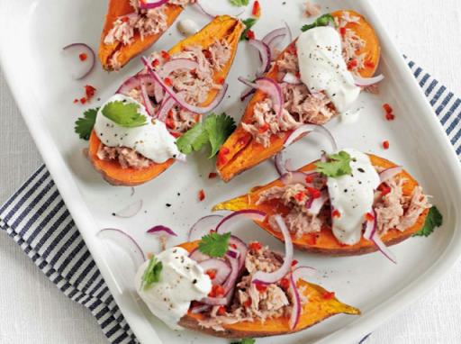 Tuna sweet-potato jackets
