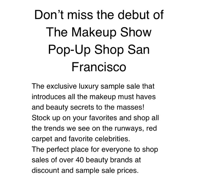 Anyone can attend the Pop Up Shop this weekend, so if your a beauty enthusiast you better get your tickets now!