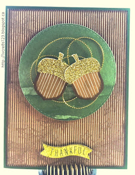 Linda Vich Creates: Acorny Thank You. This thank you card is brimming over with texture from the gold glimmer-capped acorns to the subtle leaf stamps on the corrugated Kraft matte, to the gold cording and stitched matte–all items make this card a winner!