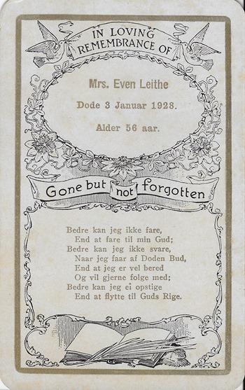Mrs Evan Leithe Funeral Card Eliz ant