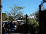 Space Mountain just visible from the gates of Frontierland