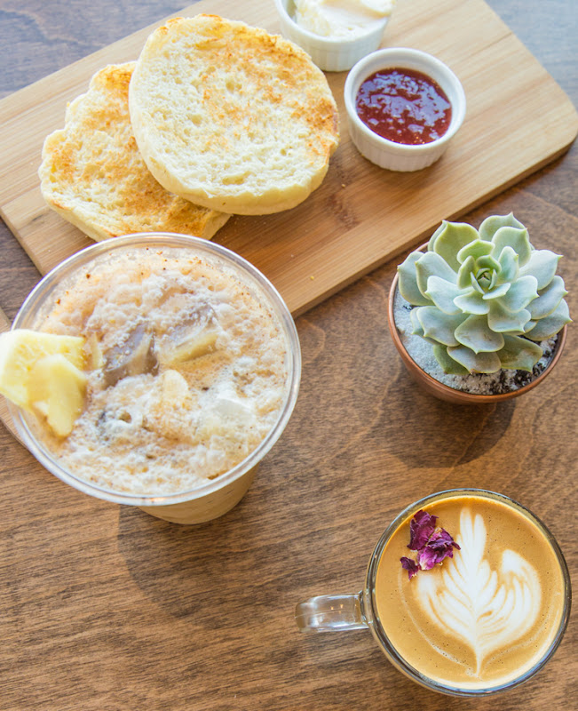overhead photo of English Muffin, La Vie En Rose, Gingersnap Cold Brew