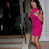 WWW.ENTSIMAGES.COM -  Lizzie Cundy  arriving at a Fundraising event in aid of Cancer Research UK at The Roof Gardens Kensington High Street, London April 3rd 2013                                                    Photo Mobis Photos/OIC 0203 174 1069