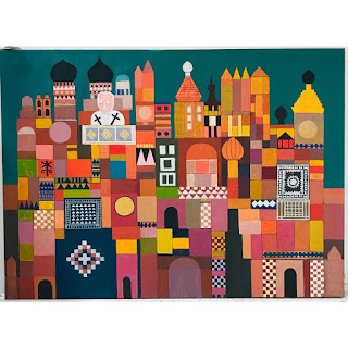 Martin Rosenthal Modernist Stylized Cityscape Painting