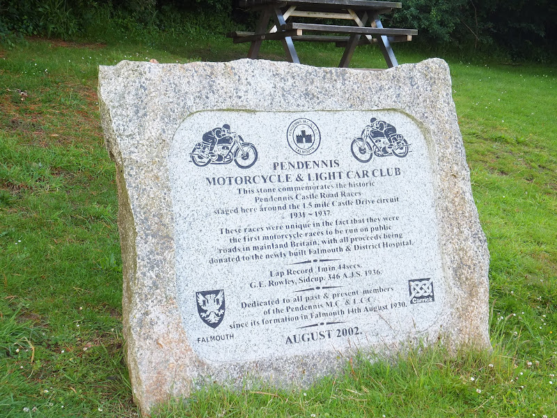 Memorial to Pendennis Castle Road Race
