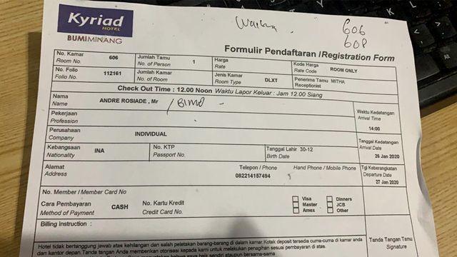 Kasus Prostitusi di Padang: Ada Kuitansi Hotel Atas Nama Andre Rosiade