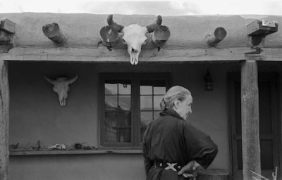 Georgia O'Keeffe outside her home, Abiquiu, NM, 1960
