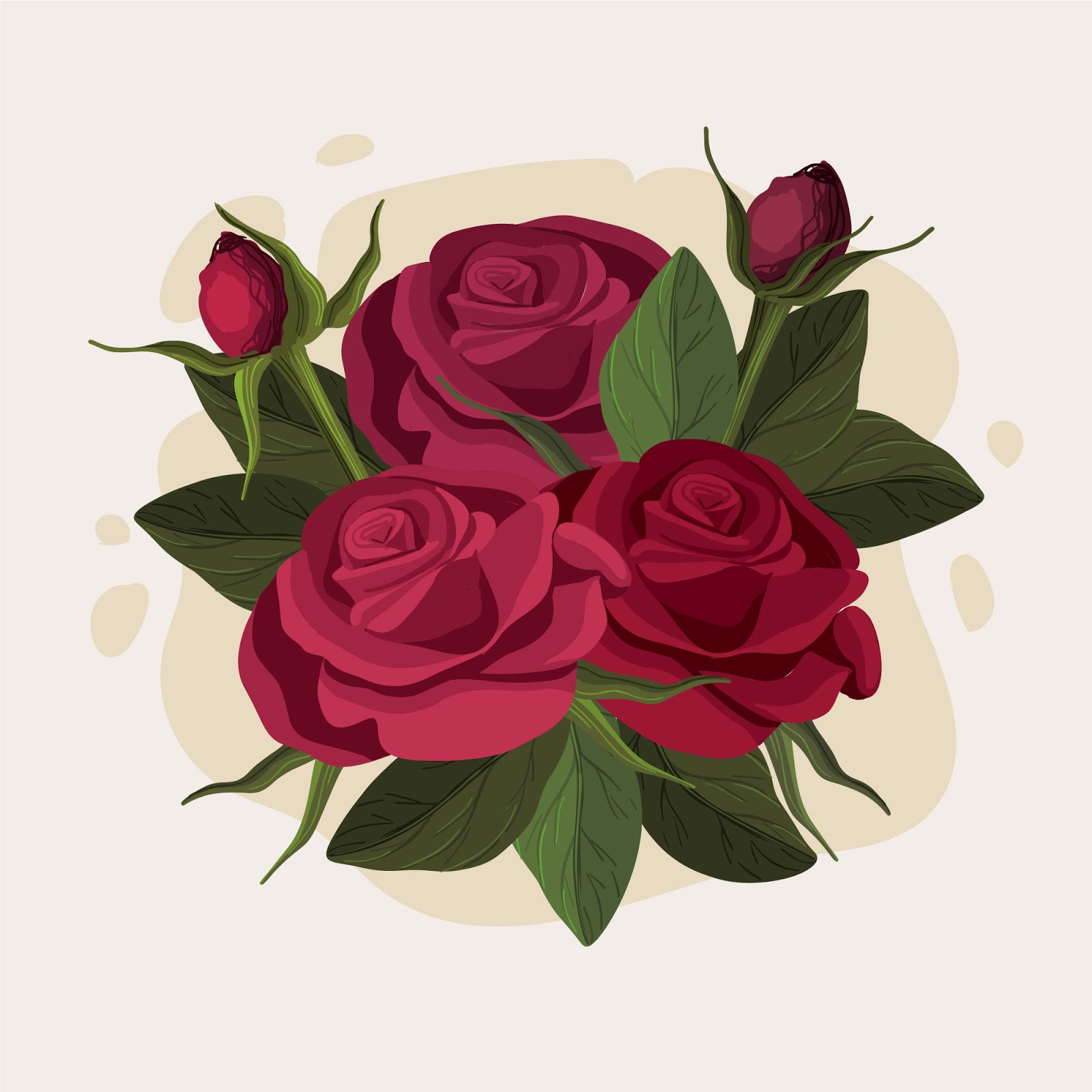 Beautiful Floral Bouquet Burgundy Roses Free Download Vector CDR, AI, EPS and PNG Formats