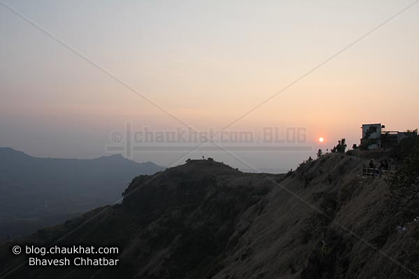 Beautiful sunset atop Sinhgad