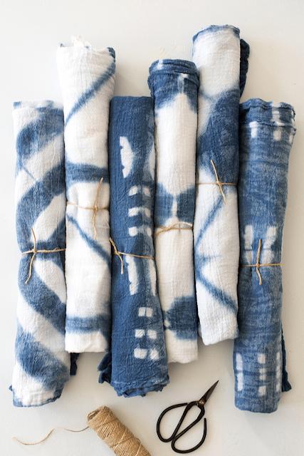 shibori dyed tea towels