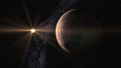 ilustração da super-Terra GJ625b e da sua estrela progenitora