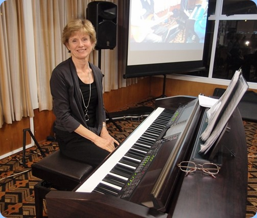 Our guest artist for the night, Denise Gunson, playing the Club's Clavinova CVP-509. Photo courtesy of Dennis Lyons.