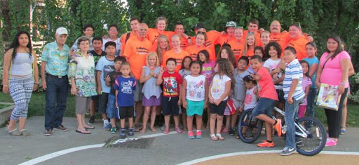 This is the team from Palermo, Maine, and a bunch of the kids who were reached in a playground in Chelsea, Massachusetts.