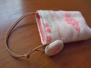 Photo: くるみボタンと内布、口布も凝って作りました。