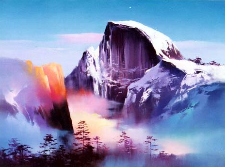 H. Leung painting Yosemite Half Dome