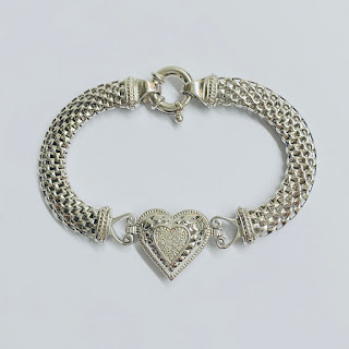 Sterling Silver and Diamond Heart Bracelet