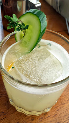 PaaDee Thai comfort food พาดี The Waterfall cocktail, with Jinro shochu, shrub, muddled cucumber, lemon and thyme
