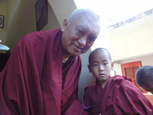Lama Zopa Rinpoche with young Ribur Rinpoche, Bodhgaya, India, January 2012. Photo by Ven. Holly Ansett.